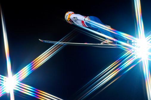 Skisprung und schwedische Lichter