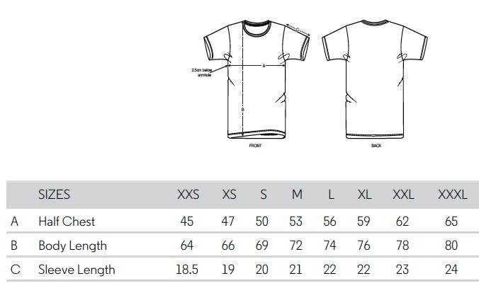 Größentabelle UEFA EURO Vintage T-Shirts