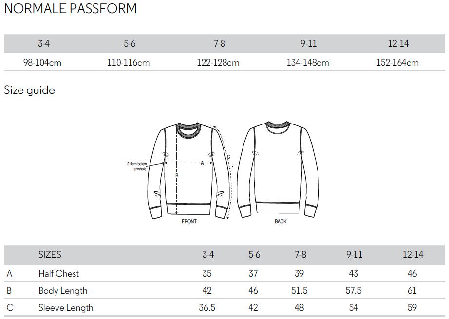 Größentabelle Kinder-Sweatshirt 11FREUNDE Textil