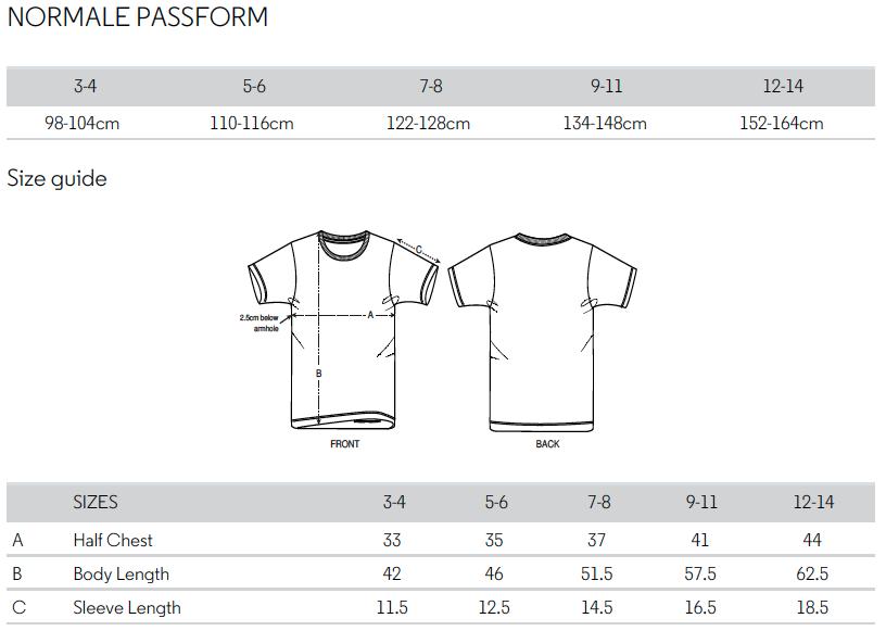 Größentabelle Kinder-T-Shirt 11FREUNDE Textil