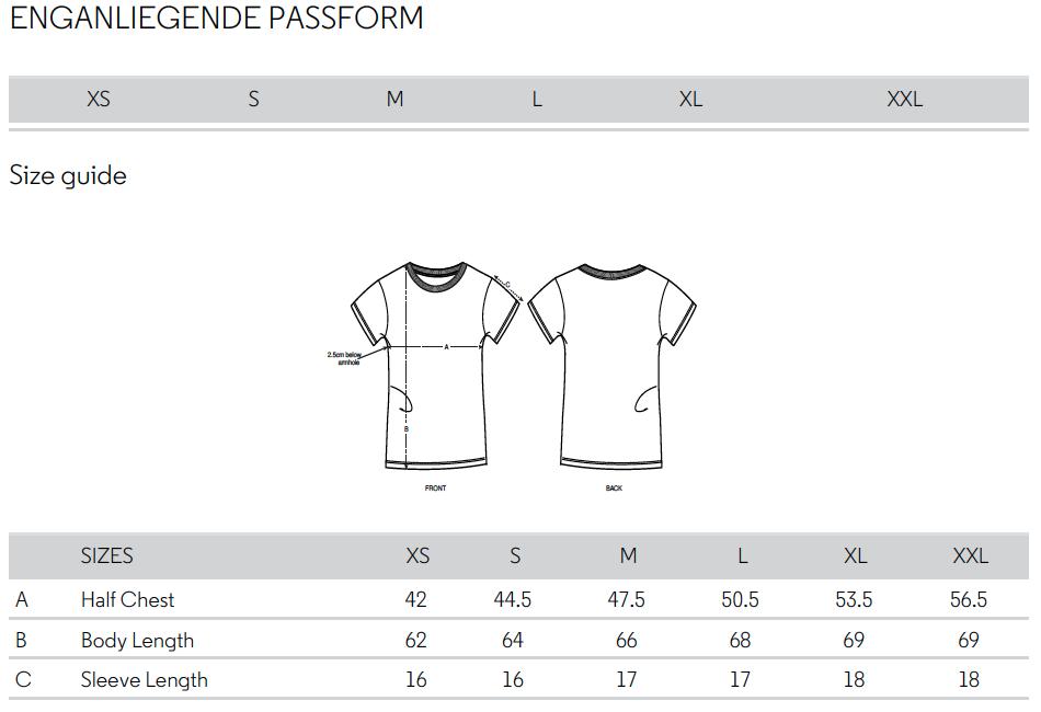 Größentabelle Frauen T-Shirt 11FREUNDE Textil