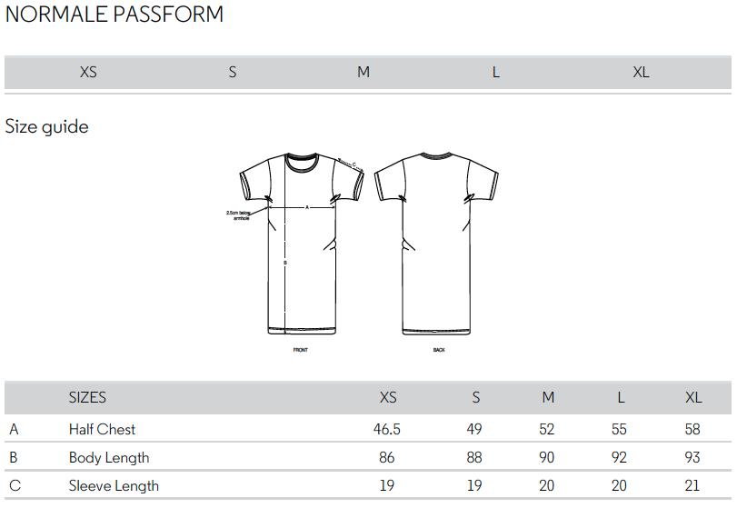 Größentabelle Frauen T-Shirtkleid 11FREUNDE Textil